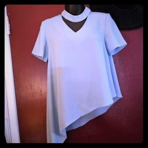 Powder blue asymmetrical choker tee